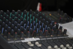 The sound desk controlling the speakers in the worship space